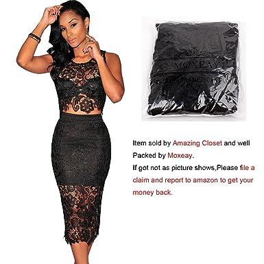 Amazon.com: Moxeay® Sexy Sleeveless Lace Stitching Two Piece ...