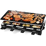Techwood Raclette Table Grill, Electric Indoor Grill Korean BBQ Grill, Removable 2-in-1 Non-Stick Grill Plate, 1500W Fast Hea