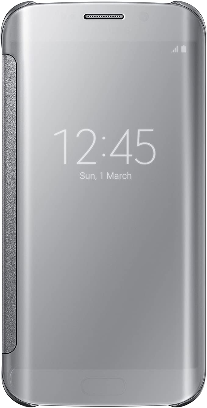 Samsung S-View Flip Cover for Galaxy S6 Edge - Retail Packaging Clear Silver/Silver