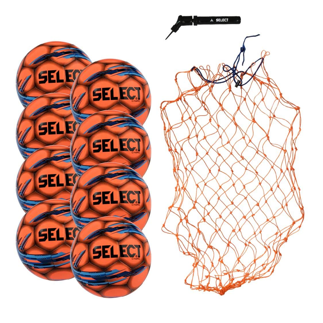 Select Campo Soccer Ball Package - Pack of 8 Soccer Balls with Ball Net and Hand Pump, Orange, Size 3