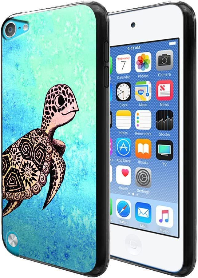 FINCIBO Case Compatible with Apple iPod Touch 5 6 7th Gen 2019, Flexible TPU Black Silicone Soft Gel Skin Protector Cover Case for iPod Touch 5 6 7 - Cute Turtle On Ocean
