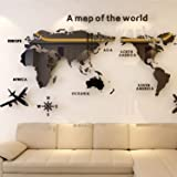 3D Wall Stickers World Map Removable Northern Europe Style Acrylic DIY Wall Art for Home