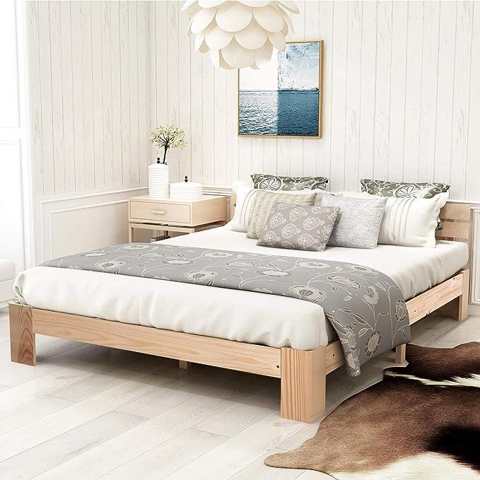 ModernLuxe - Cama doble de madera maciza de pino (140 x 200 cm, con cabecero y somier, apta para personas mayores, con respaldo de 1 ckenlehne ...