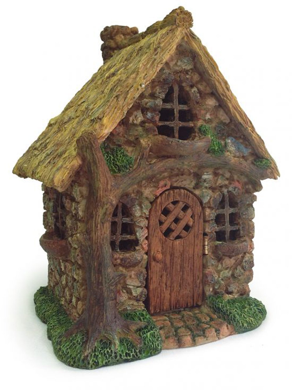 English Tree Cottage Miniature Fairy Garden Resin Figurine