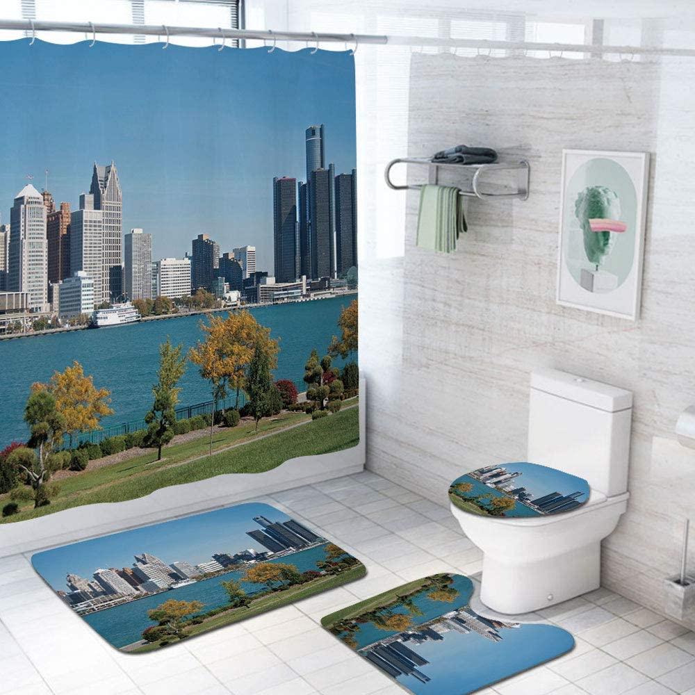 Detroit Outdoor Patio Curtain Waterproof Industrial City Center Shoreline River Scenic Panoramic View in a Sunny Day Doorways Grommet Patterned Curtain 72x84 INCH,Blue Green Silver