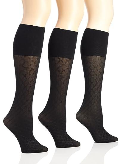 6c6e8a5454b Sunny Socks Women s Queen Microfiber Opaque Diamond Pattern Trouser Knee  High Socks - 3 Pack