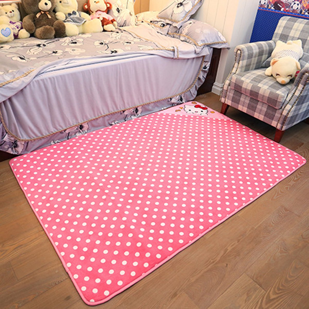 EKEA-Home Cartoon Hello Kitty Skid-proof Washable Carpet Kids Nursery Entertainment Floor Area Rugs Baby Crawling Mat For Living Room/Bed Room Pink,90x190cm/35.46''x74.86''