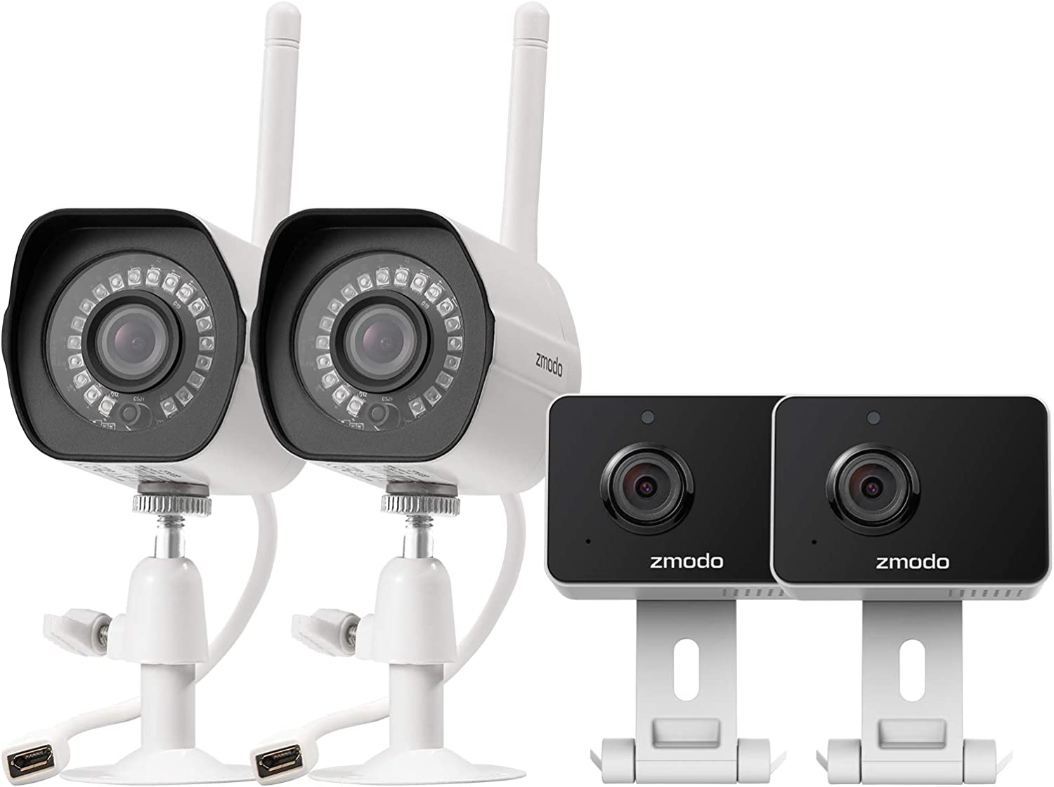 Zmodo Cameras for Home Security (Wireless Indoor & Outdoor Camera Bundle 4 Pack), 1080p HD, IP Camera, Motion Detection, Two-Way Talk, Night Vision, Remote View, Cloud Service, Work with Alexa/Google
