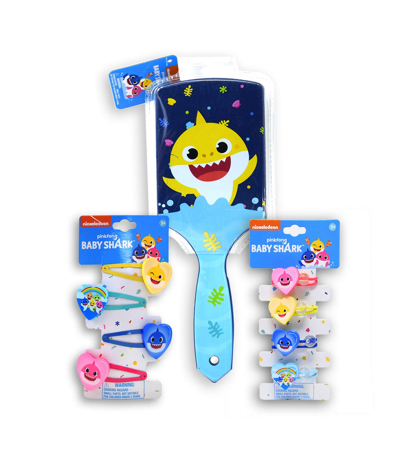 Pinkfong Baby Shark Hair Set - Shark Family Girls Toy Accessories Total 9 pieces, 4 Hair Ponies, 4 Snap Clips with Blue Paddle Brush