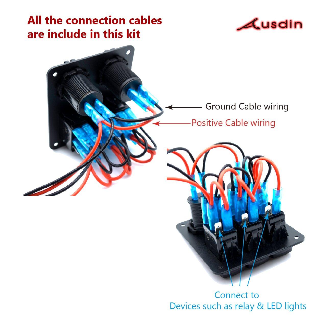 amazon com switch panel ausdin 3 gang laser rocker switch panel led rh amazon com
