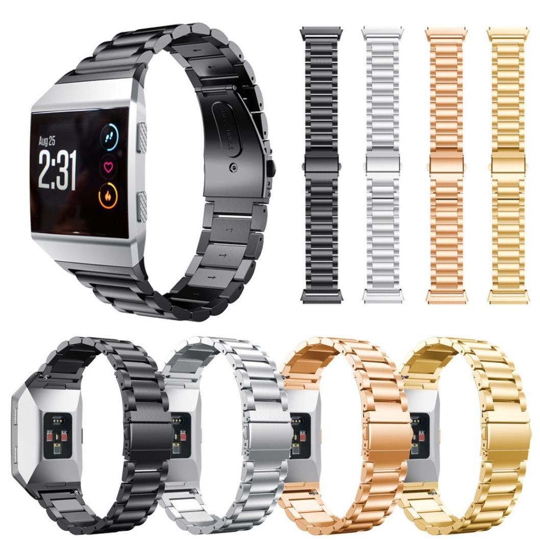 For Fitbit Ionic Bands, Gotd Stainless Steel Metal Strap WristBand Sports Fitness Replacement Band For Fitbit Ionic, Small Large Women Men (Black)