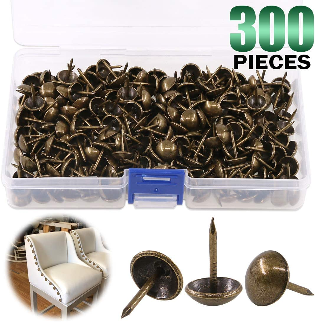 "Keadic 300Pcs [ 7/16"" in Diameter] Antique Upholstery Tacks Furniture Nails Pins Kit for Upholstered Furniture Cork Board or DIY Projects - Bronze"