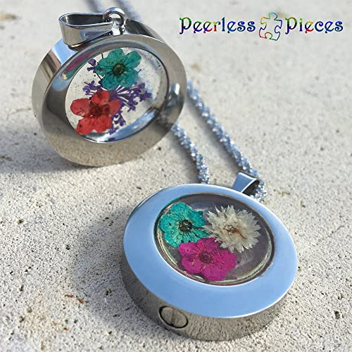 Cremation Jewelry Vial Necklace Stainless and Resin Memorial Teardrop Urn Pendant with Dried Flowers Urn Necklace Ash Necklace G9