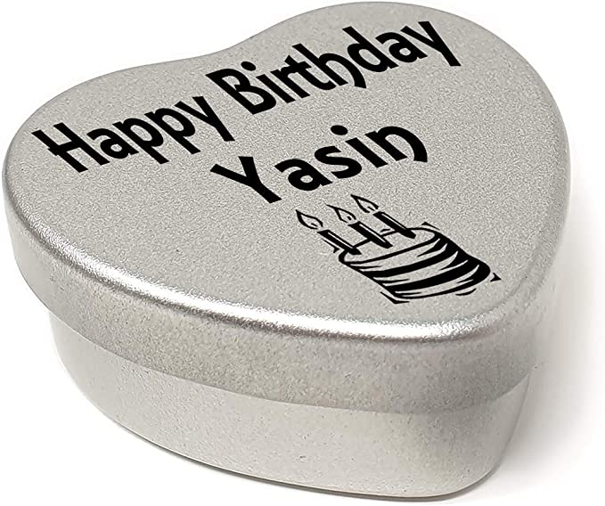 Happy Birthday Yasin Mini Heart Tin Gift Present For Yasin WIth Chocolates