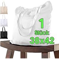 ELES VIDA Bolsa de algodón 38x42 cm piezas sin imprimir, dos asas largas con certificación OEKO-TEX® Bolsa de tela…