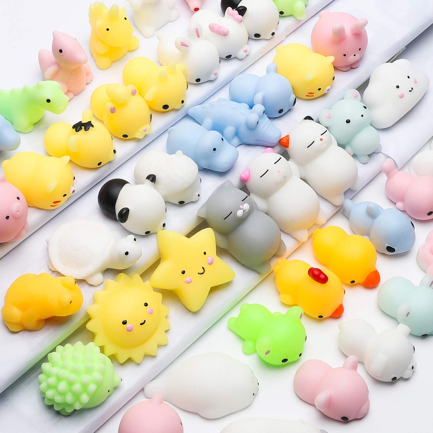 WATINC Random 70 Pcs Squishies, Birthday Gifts for Kids Party Favors, 30 Pcs Kawaii Simulation Bread Squishies 40 Pcs Mochi Squishies Cat Panda Goodie Bags Egg Fillers, Keychain Phone Straps by WATINC (Image #1)