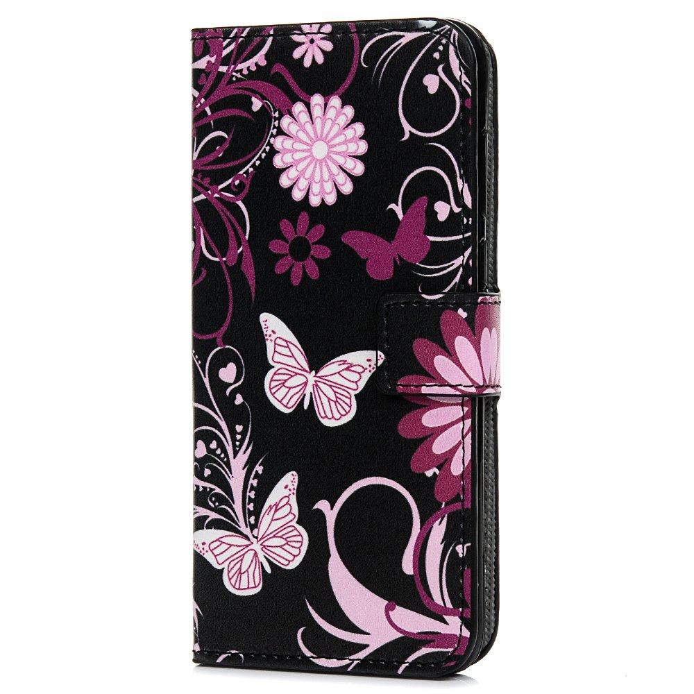 Huawei P Smart Case Wallet, Funda de piel sintética con soporte para tarjeta y ranura para identificación, funda protectora de TPU para Huawei P Smart/Enjoy 7S, Floral Tophung