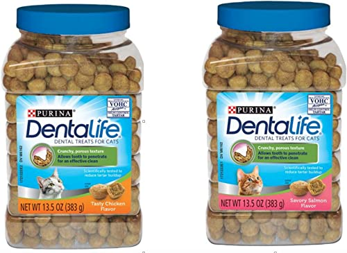Purina DentaLife Tasty Chicken and Salmon Dental Treats for Cats Set of Two Flavors 13.5 oz Each