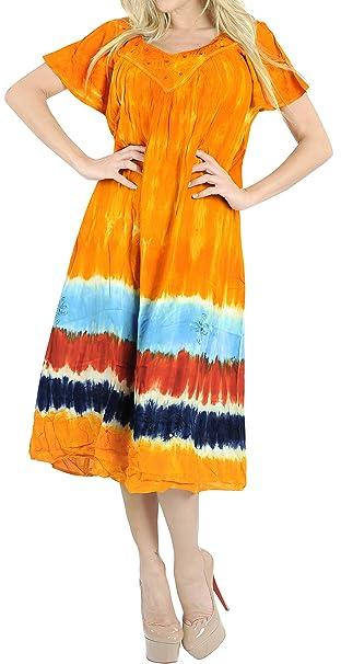 7dea78596d84 LA LEELA Rayon Tie Dye Short Office Wear Beach Cover Up M127 559 One Size