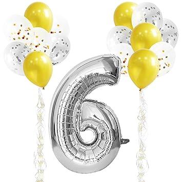 KUNGYO Decoraciones de Fiesta de Cumpleaños para Adultos y Niños, Plata Gigante Número 6 y