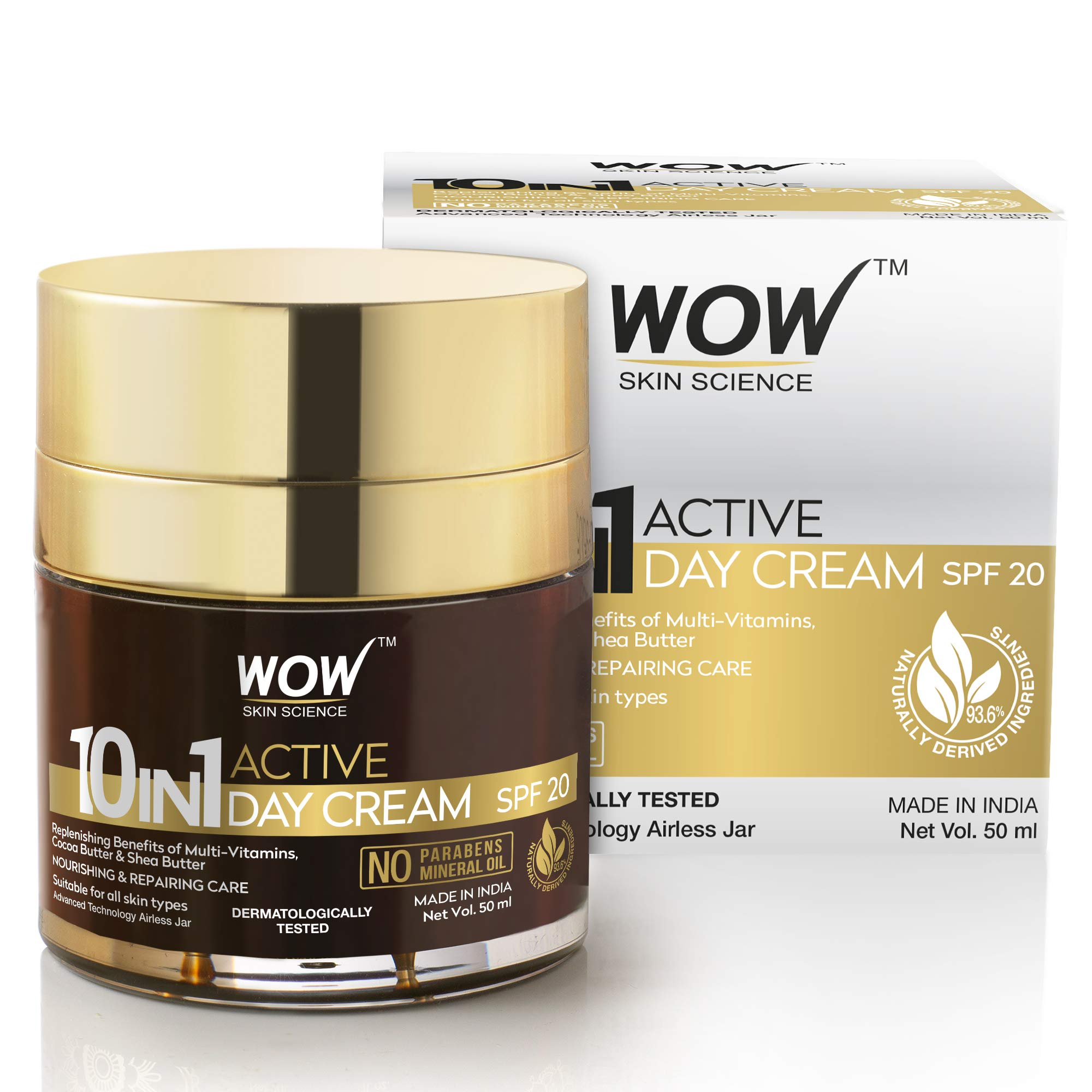 WOW 10 in 1 Active Miracle Day Cream with SPF 15 PA++ and Infused Shea and Cocoa Butter, Hydrolysed Collagen, Vitamin E, C and B5-50ml