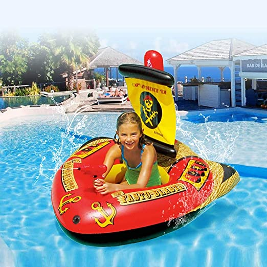 DODOBD Colchoneta Hinchable Piscina, Diversión en el Agua Diversión en el Agua Piscina en balsa Juegos acuáticos de Verano con Juguete Inflable para Montar Barco Pirata: Amazon.es: Hogar