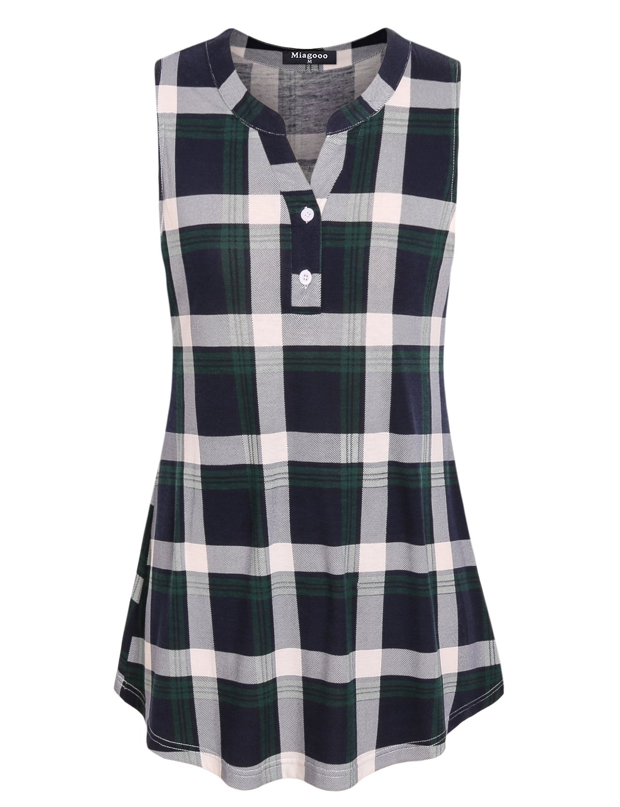 Miagooo Vintage Blouses, Women's Shirts Notched Collar V Neck Sleeveless Tunic Tops Versatile Retro Style Pleated Front Curved Hem Hipster Baggy Plaid Tshirt Green L