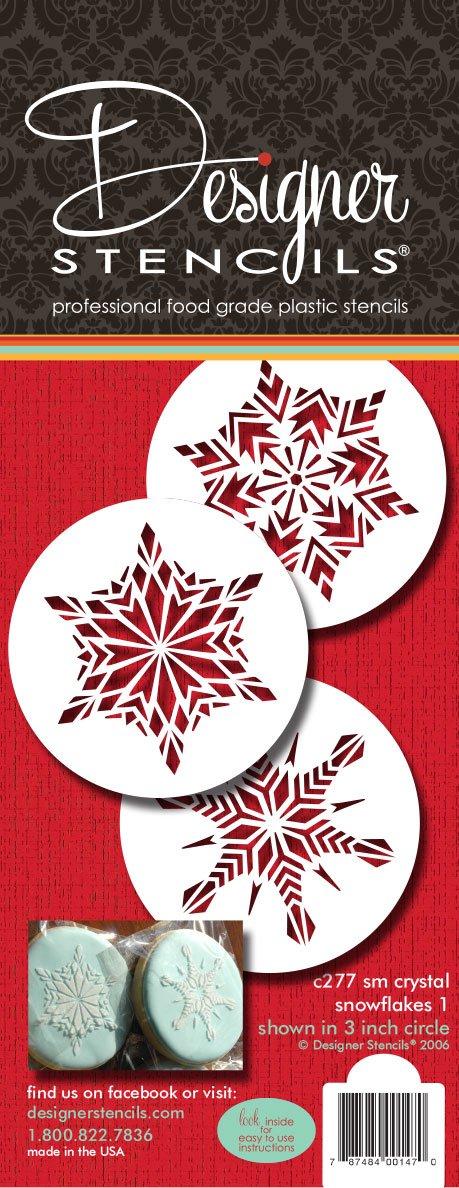 designer stencils C277 Crystal Snowflakes Cookie Stencils, Small, Beige/Semi-Transparent