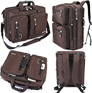 FreeBiz Water Resistant Laptop Bag Convertible Backpack Business Briefcase Messenger Bag Travel Rucksack for 17.3 Inch Laptop for Men Women Students