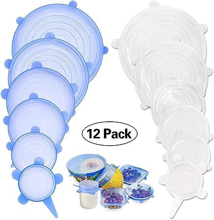 r/éutilisable, Protection Alimentaire Bleu + Blanc 12pcs Couvercles Extensibles en Silicone Couvercle Herm/étique en Silicone Couvercle en Silicone Couvercle Universel//Conservation des Aliments