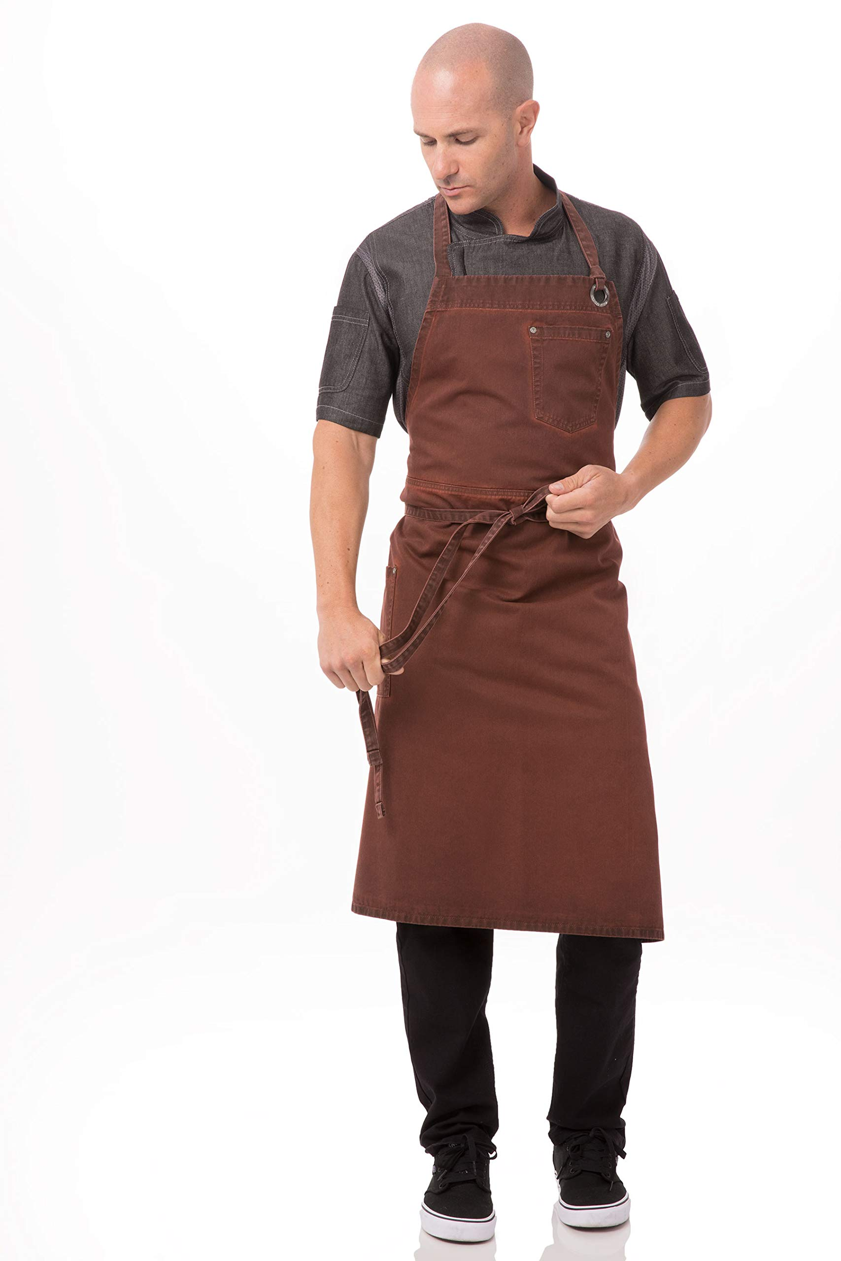 Chef Works Dorset Chefs Bib Apron, Rust, One Size by Chef Works