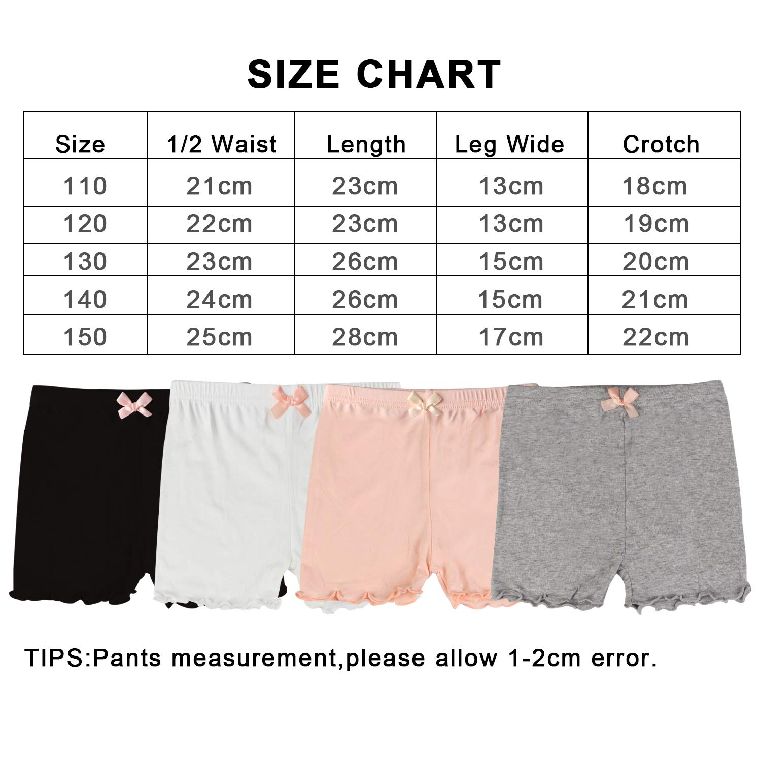 Kereda 4 Pairs Girls Sport Shorts Cotton Hot Pants Dance Gym Knickers for Kids 3-12 Years