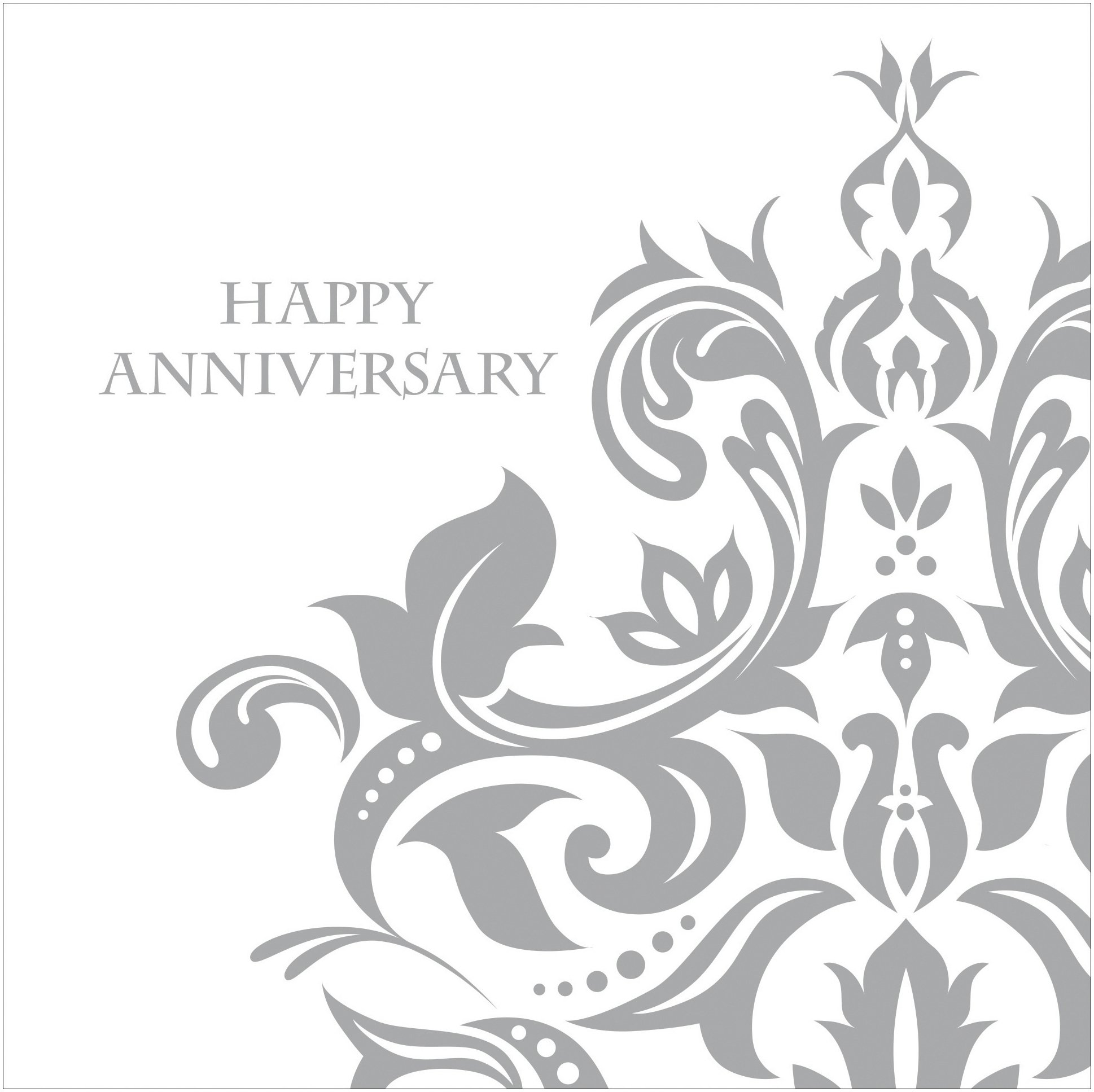 Creative Converting 36 Count 3 Ply Happy Anniversary Lunch Napkins, Silver