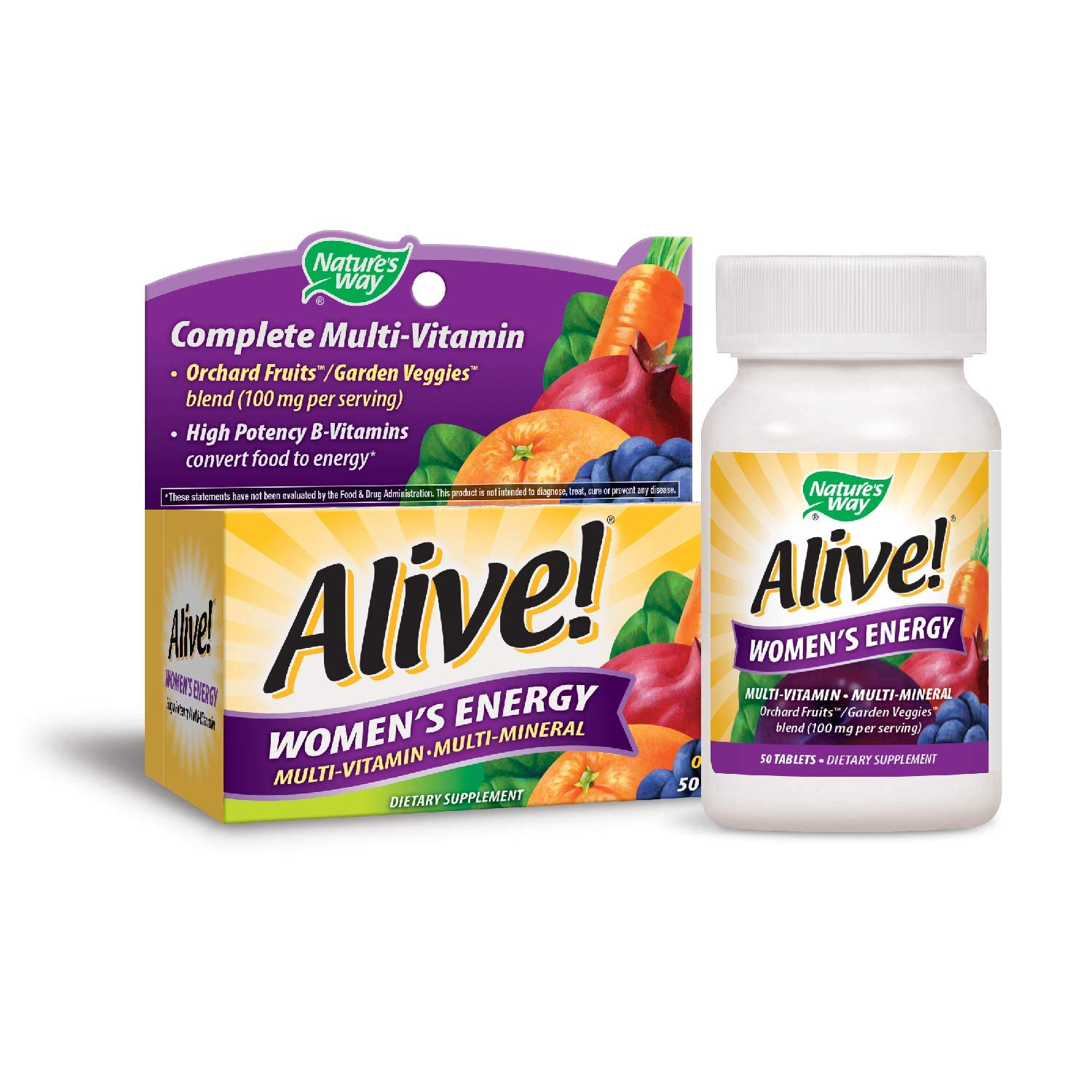 Vitamins For Energy >> Nature S Way Alive Women S Energy Multivitamin Tablets Fruit And Veggie Blend 100mg Per Serving