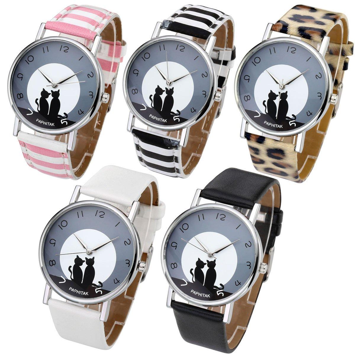 Top Plaza Womens Girls Fashion Cute Cat Pattern Round Dial Quartz Analog Watch 3ATM Waterproof-Set of 5