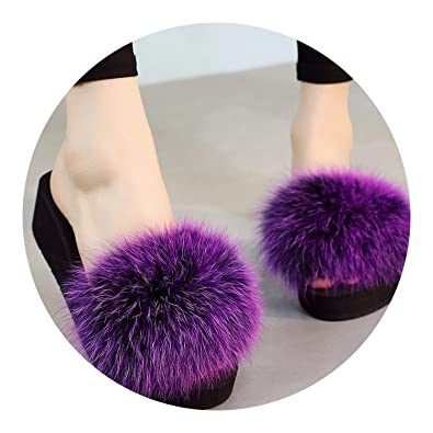 4260ec961ea Image Unavailable. Image not available for. Color  Fox Fur Slippers Real Fur  Slides Flat Thick Heel Beach Sandals ...