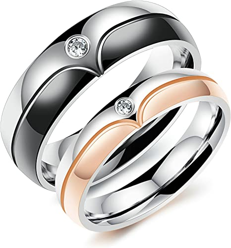 alianzas compromiso boda 6 circonita /& grabado de acero inoxidable alianzas 2