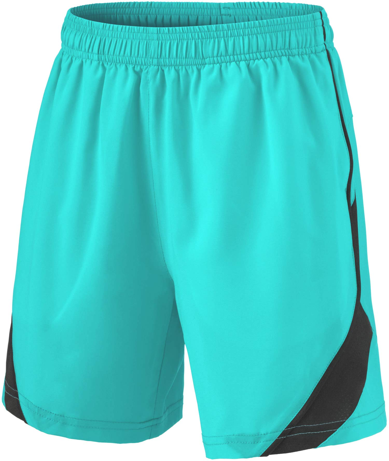 TSLA Boy's Active Shorts Sports Performance Youth HyperDri II w Pockets, Stretch Pace(kbh76) - Teal, Youth Large by TSLA