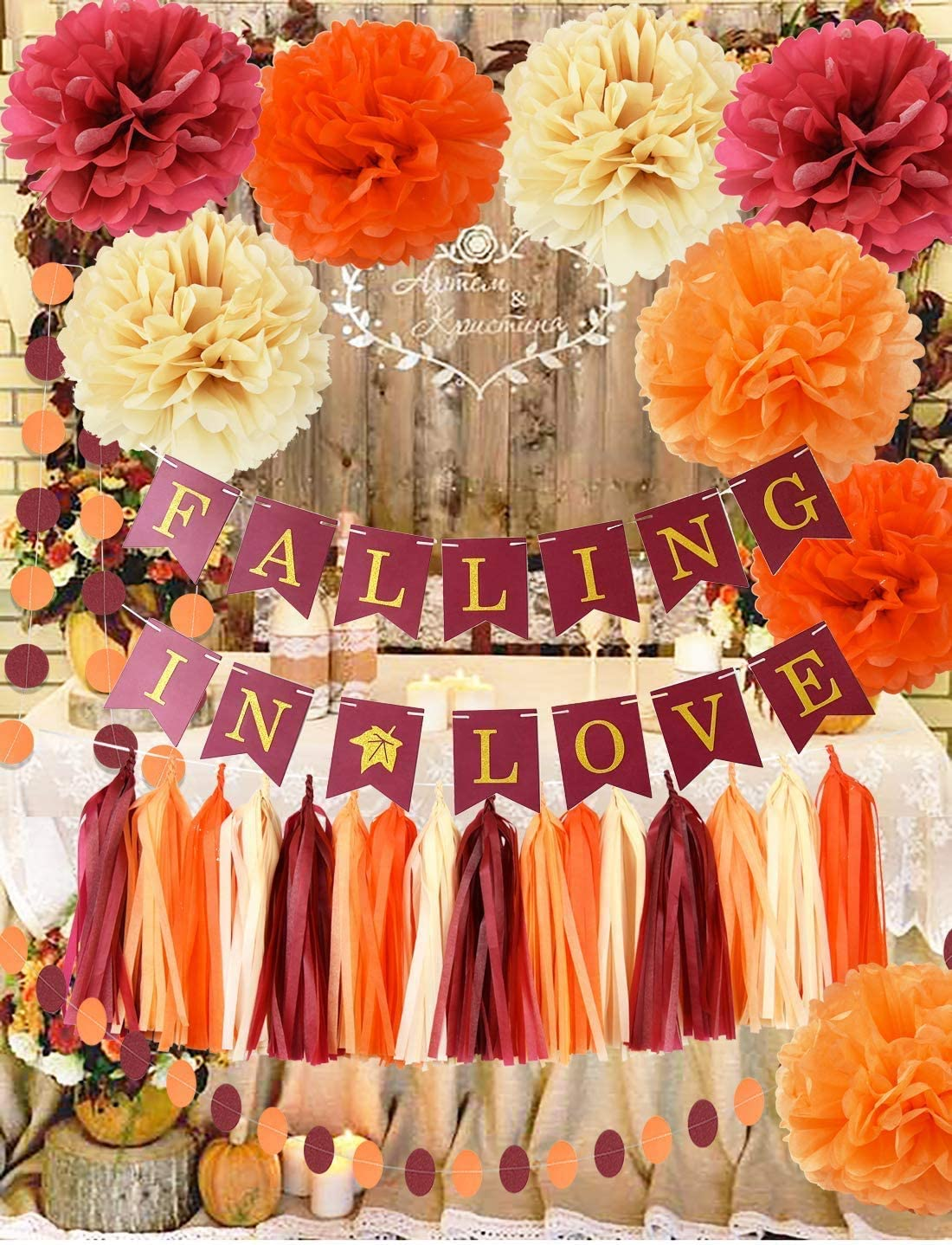 Fall Bridal Shower Decorations Wine Burgundy Champagne Orange /Fall In Love Banner Wedding Decorations Burgundy Orange Maroon Burgundy Wedding/Fall Themed Wedding/Wedding Anniversary Decorations