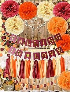 Fall Bridal Shower Decorations Wine Burgundy Champagne Orange /Fall In Love Banner Wedding Decorations Burgundy Orange Maroon Burgundy Wedding/Fall Themed Wedding/Wedding Anniversary Decorations
