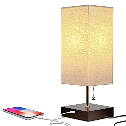 Brightech Grace LED USB Bedside Table Desk Lamp Modern Lamp with Soft, Ambient Light, Unique Lampshade Functional USB Port Perfect for Table in Bedroom, Living Room, or Office Havana Brown