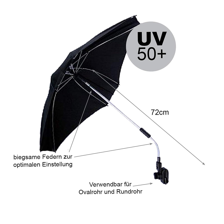 Buggy ECKIG Ø74cm UV50 UNIVERSAL Sonnenschirm Schirm für Kinderwagen SCHUTZ.