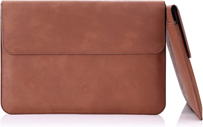 MoKo Laptop Sleeve Case Fits MacBook 12 Inch, Surface 3 10.8, PU Leather Protective Notebook Case Bag with Document Pocket and Built-in Card Slot - Brown
