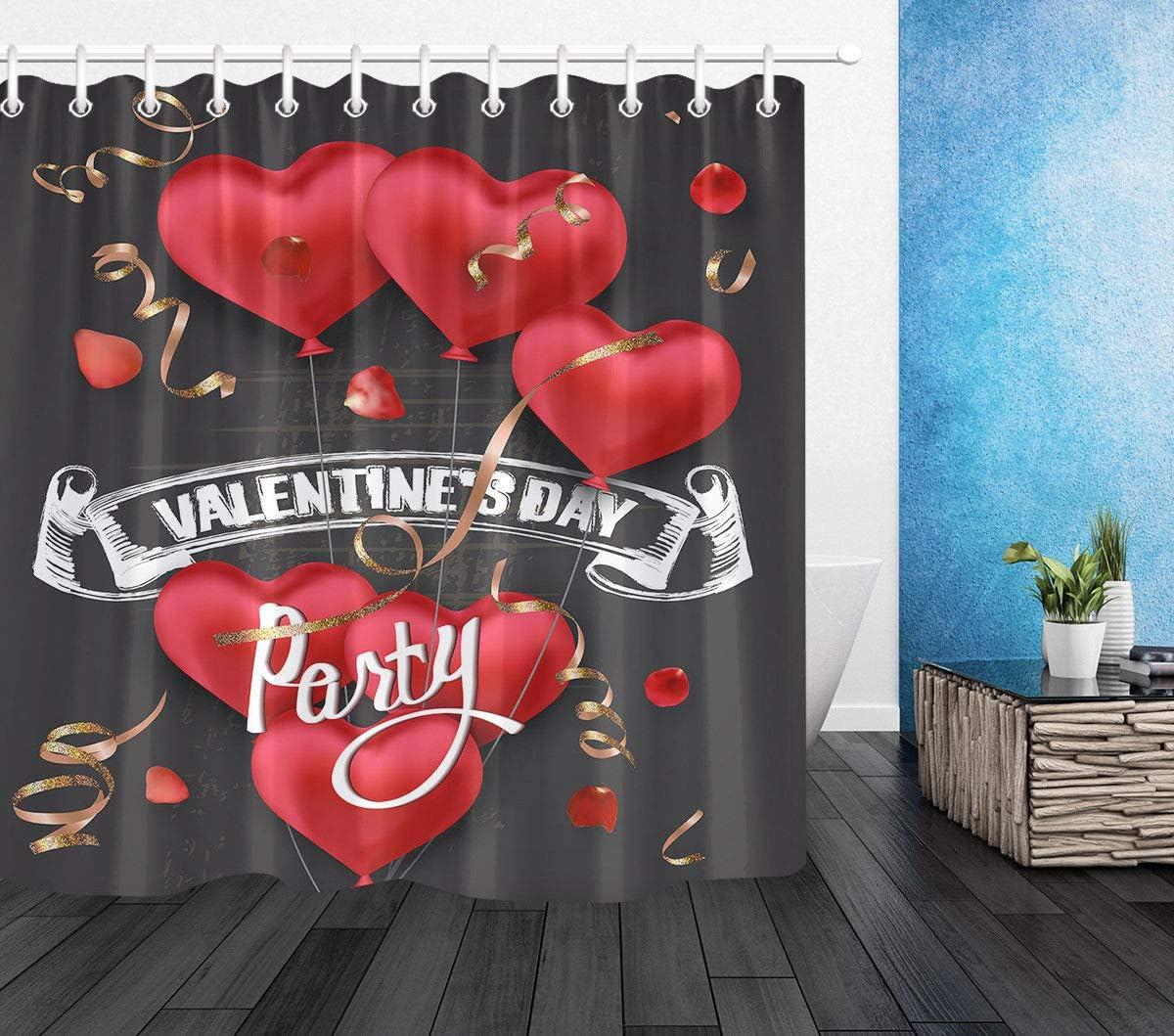 "Heart Love Waterproof Fabric Bathroom Mat Bath Shower Curtain Home Decor 71x71/"""