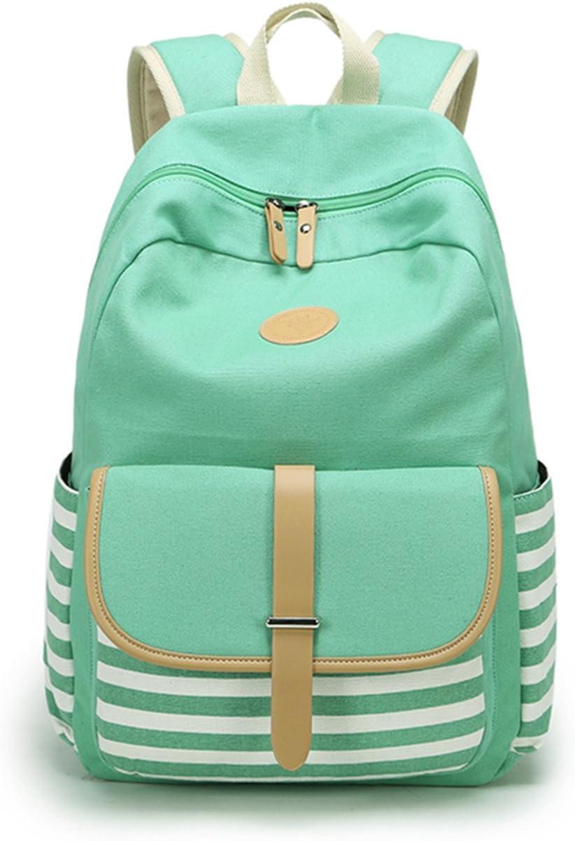 Leaper Canvas School Backpack for Girls Laptop Bag Shoulder Handbag Water Blue