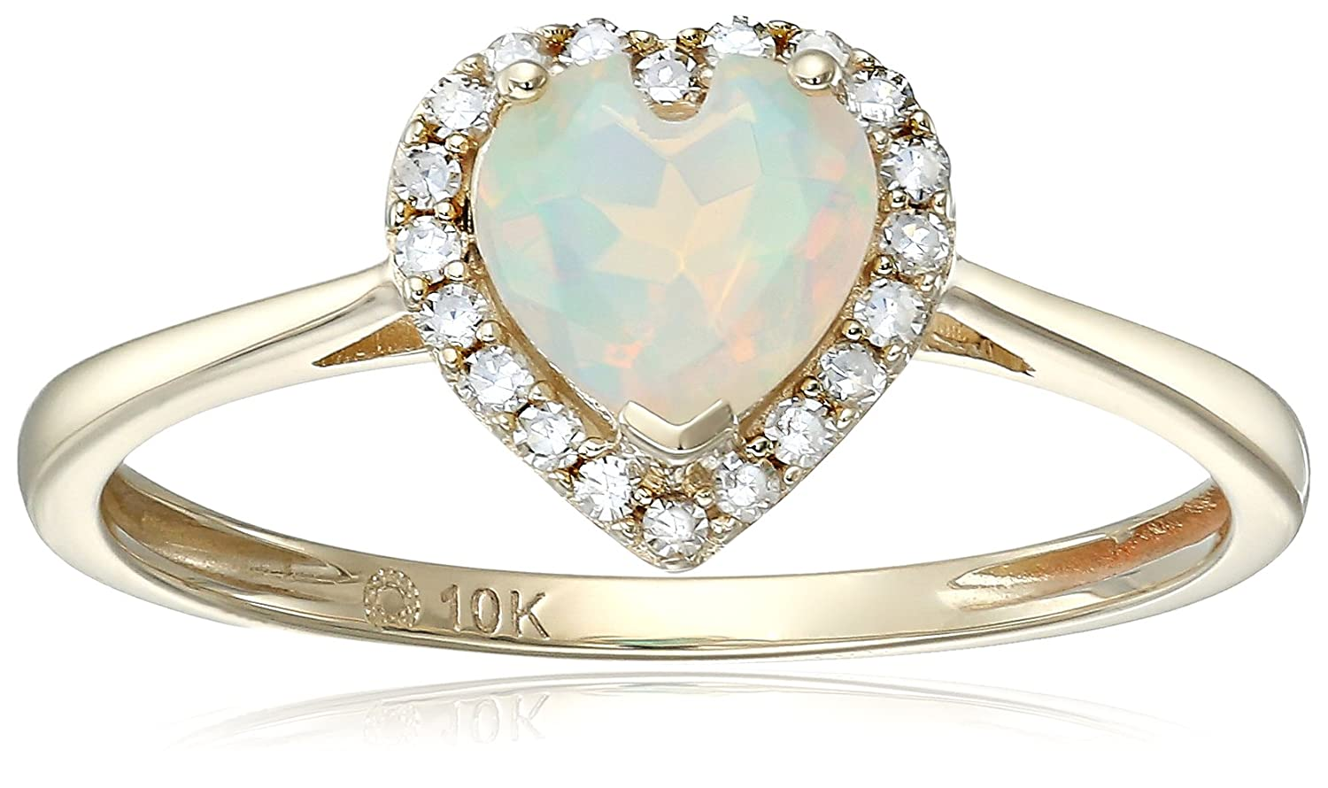 10k Yellow Gold Ethiopian Opal And Diamond Solitaire Heart Halo Engagement Ring (1/10cttw, H-I Color, I1-I2 Clarity), Size 7 R4720YETOP