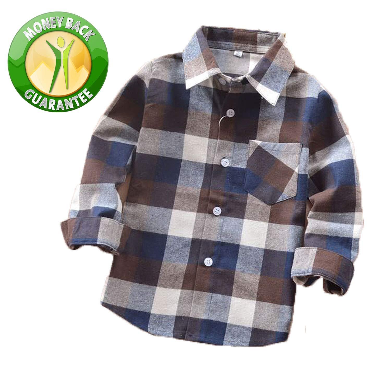 Rainlover Little Boys' Long Sleeve Button Down Plaid Flannel Shirt (5T, E003)