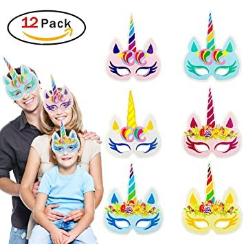 RUNFON Rainbow Unicorn Papier Masken Kinder Geburtstag Einhorn Party ...