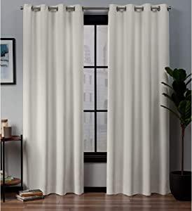 Exclusive Home Curtains Academy Total Blackout Grommet Top Curtain Panel Pair, 52x108, Ivory