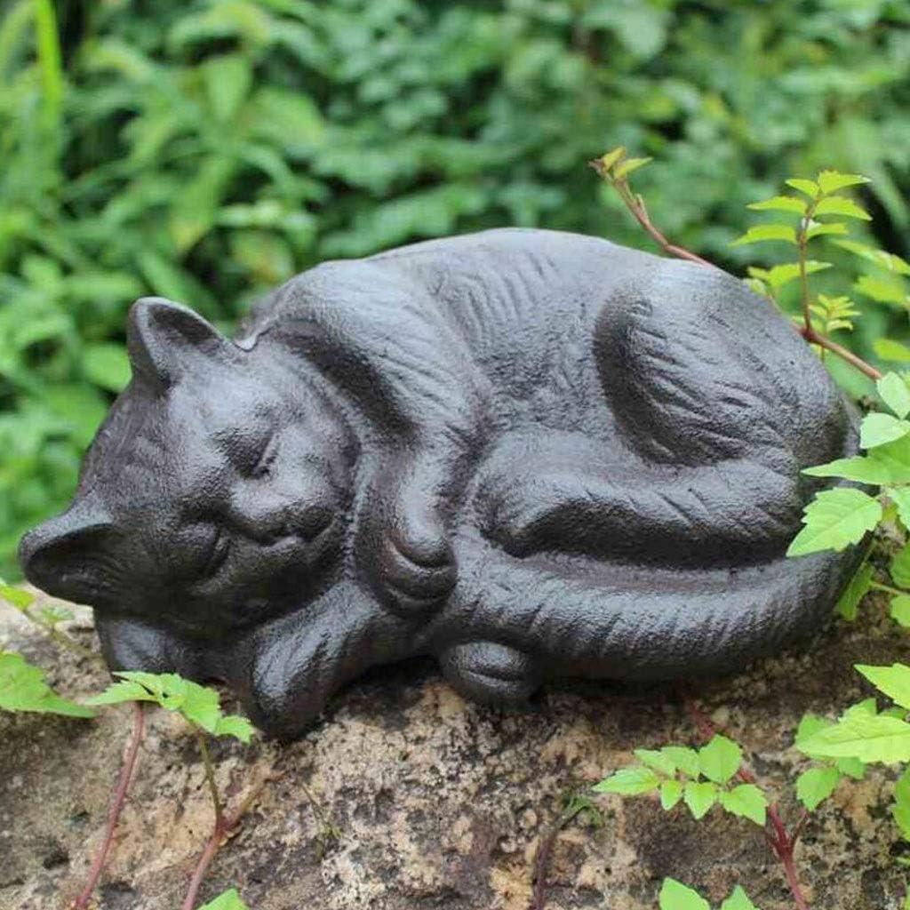 CKH - Adorno Retro de Gato Dormido de Hierro Fundido para Manualidades, Bar, Patio, decoración de Pared